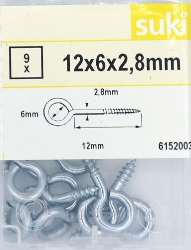 Ringschrauben-Set 12x6x2,8mm, 9 Stück