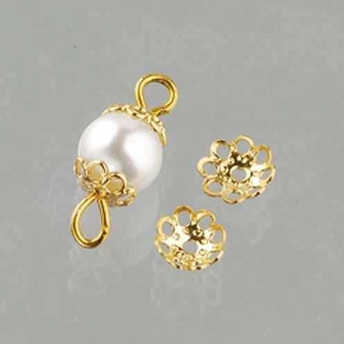 Perlkappen, Schmuckkappen für ø 6 mm Perlen, 30 Stück