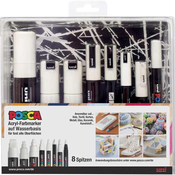 POSCA Acryl-Farbmarker 8er Set weiß