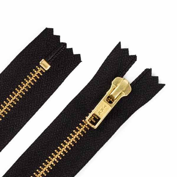 20cm Hosen Reißverschluss Metall Goldzähne 5mm