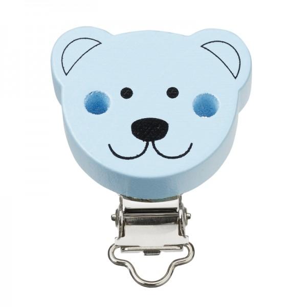 Schnuller-Ketten-Clip Bär, hellblau