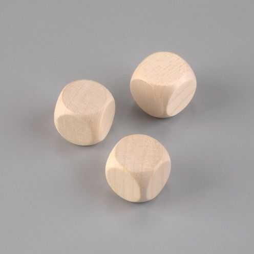 Holzwürfel Buche gebleicht, Ø 20mm, 6 Stück