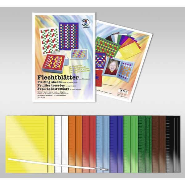 Flechtblätter 14 x 20cm 10 Farben sortiert