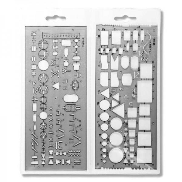 2-teilige Zeichenschablone Elektrotechnik, Elektronik