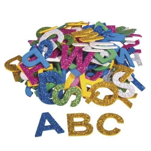 Moosgummi Alphabet, Glitter 3cm, selbstklebend, 130 Stück