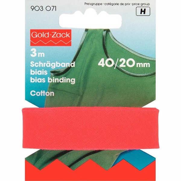 Schrägband, Baumwolle, 40/20mm, rot, 3m