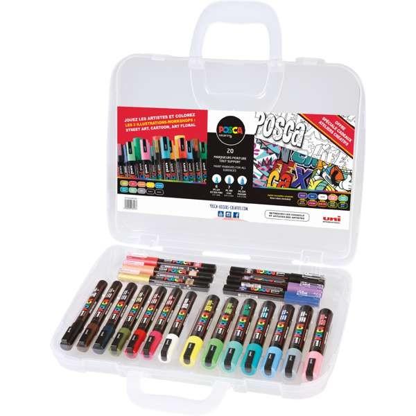 Posca 20er Kreativ-Set, Dunkle- & Pastellfarben