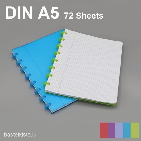 ATOMA Ring-Heft kariert DIN A5 mit Rand, in verschiedenen Farben