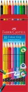Colour Grip, 10er Set - Wasservermalbare Buntstifte mit Radierer
