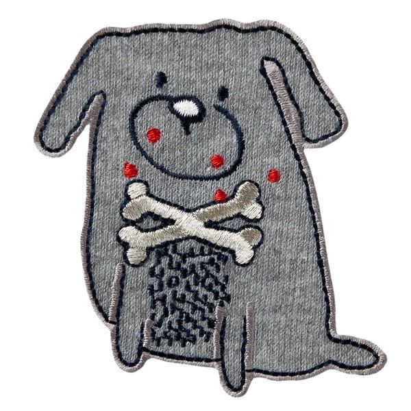 MonoQuick Bügelmotiv Hund mit Knocken