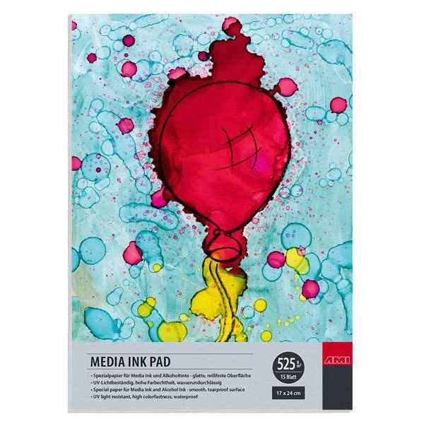 MEDIA INK PAD, Spezialpapier für Alkoholtinte, 525g/m², 15 Blatt