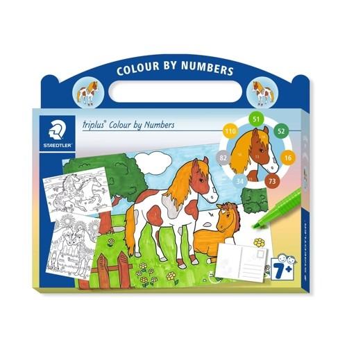 """Kartonkoffer triplus Colour by Numbers """"Pferde"""""""