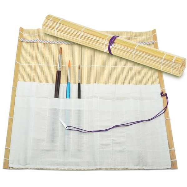 Bambus Pinseltasche, Pinselmatte