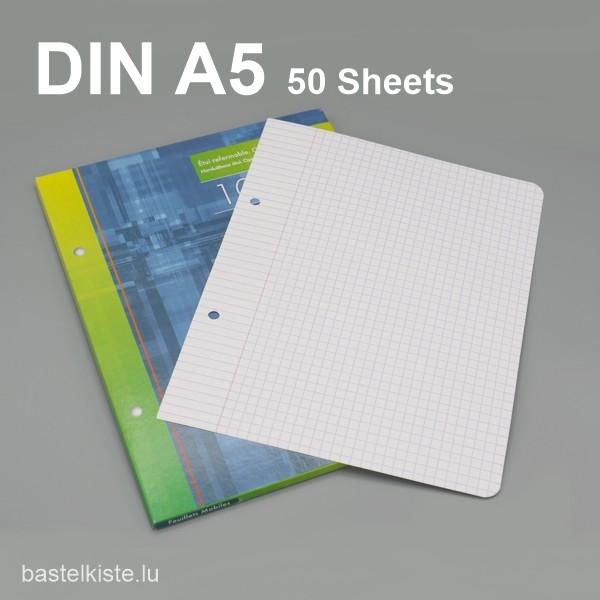 Lose Blätter kariert 5x5 DIN A5 mit Lochung + Rand
