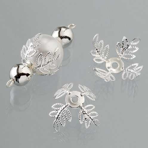 Perlkappen, Schmuckkappen für ø 14-18 mm Perlen, 6 Stück