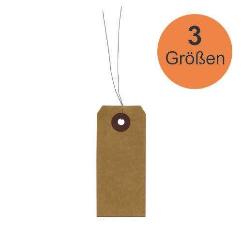 Kraft-Etiketten Rechteckig mit Befestigungsdraht, 50 Stück
