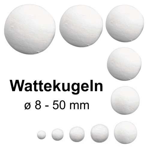 Wattekugeln von 8mm bis 50mm, weiß