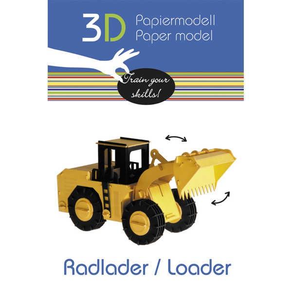 """3D Papiermodell """"Radlader"""" zum zusammenbauen"""