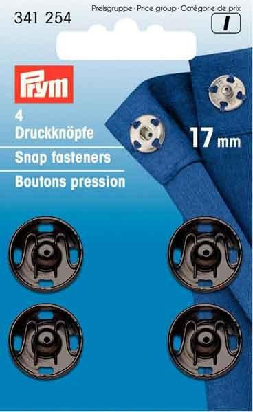 PRYM Annäh-Druckknöpfe 17mm, schwarz