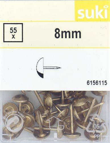 Polsternägel 8mm vermessingt (gold) 55 Stück