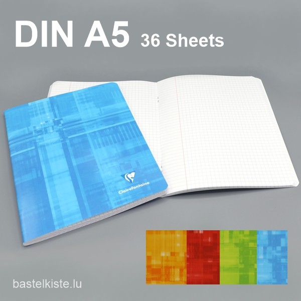 Heft kariert DIN A5 mit Rand dünn, in 4 Farben