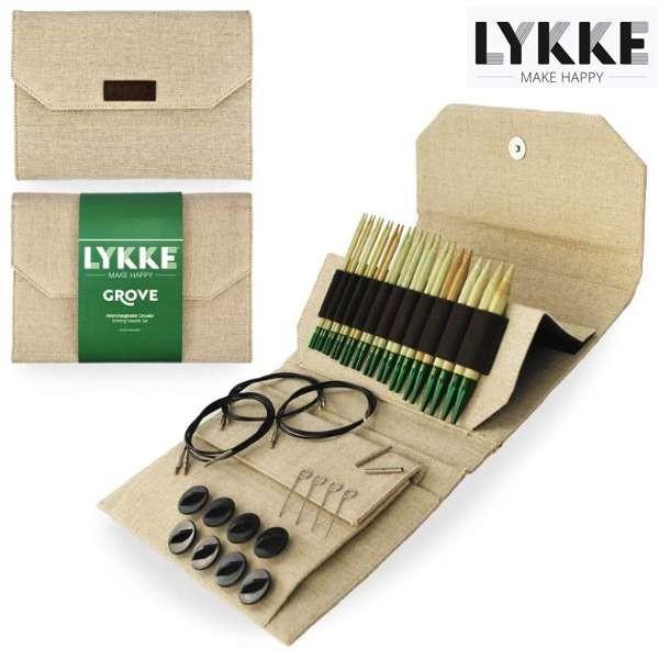 LYKKE Rundstricknadel-Set GROVE 5-inch Nadel Jute Stricknadel Holzstricknadeln