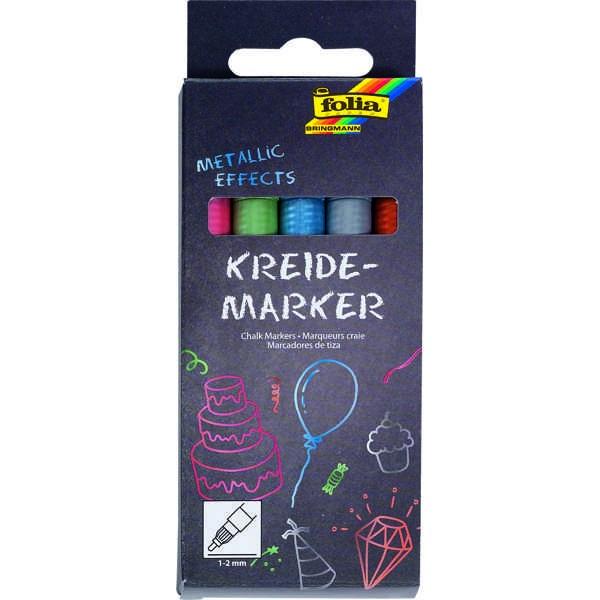 Kreidemarker, Kreidestifte, Chalk Markers 5er Set ►METALLIC◄