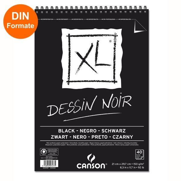 Canson XL Dessin Noir Spiral 150g/m², schwarz