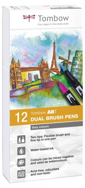 ABT DUAL BRUSH PENS 12er Set Grey Colours
